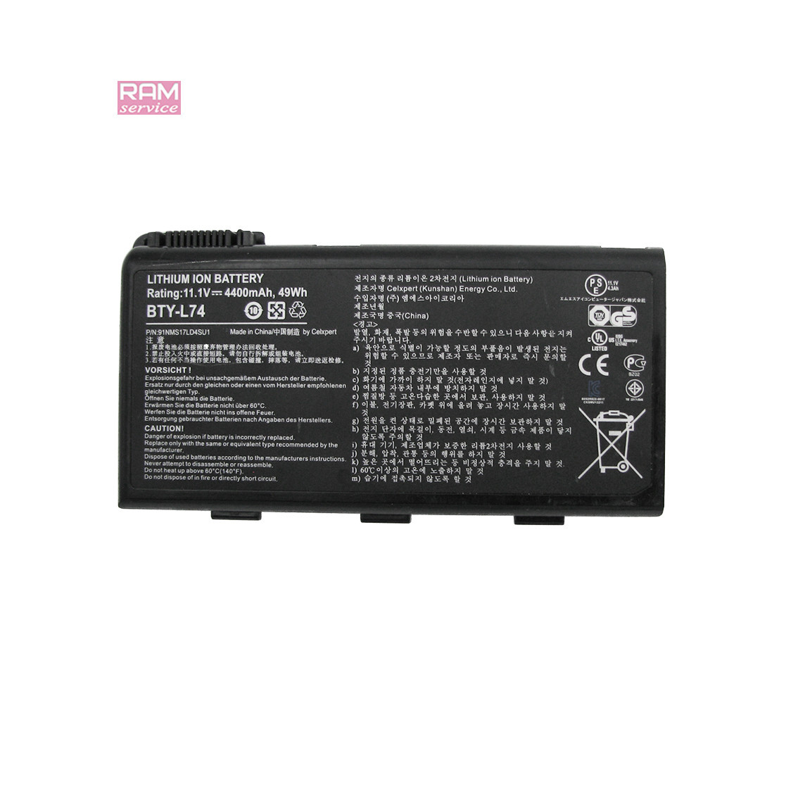 Батарея, акумулятор, BTY-L74, для MSI CR Series, MSI CX Series, MSI MS Series, MSI A Series, Li-ion Battery,