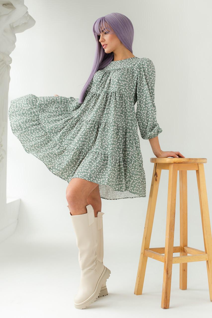Свободное платье с растительным принтом GULSELI - мятный цвет, 44р (есть размеры)