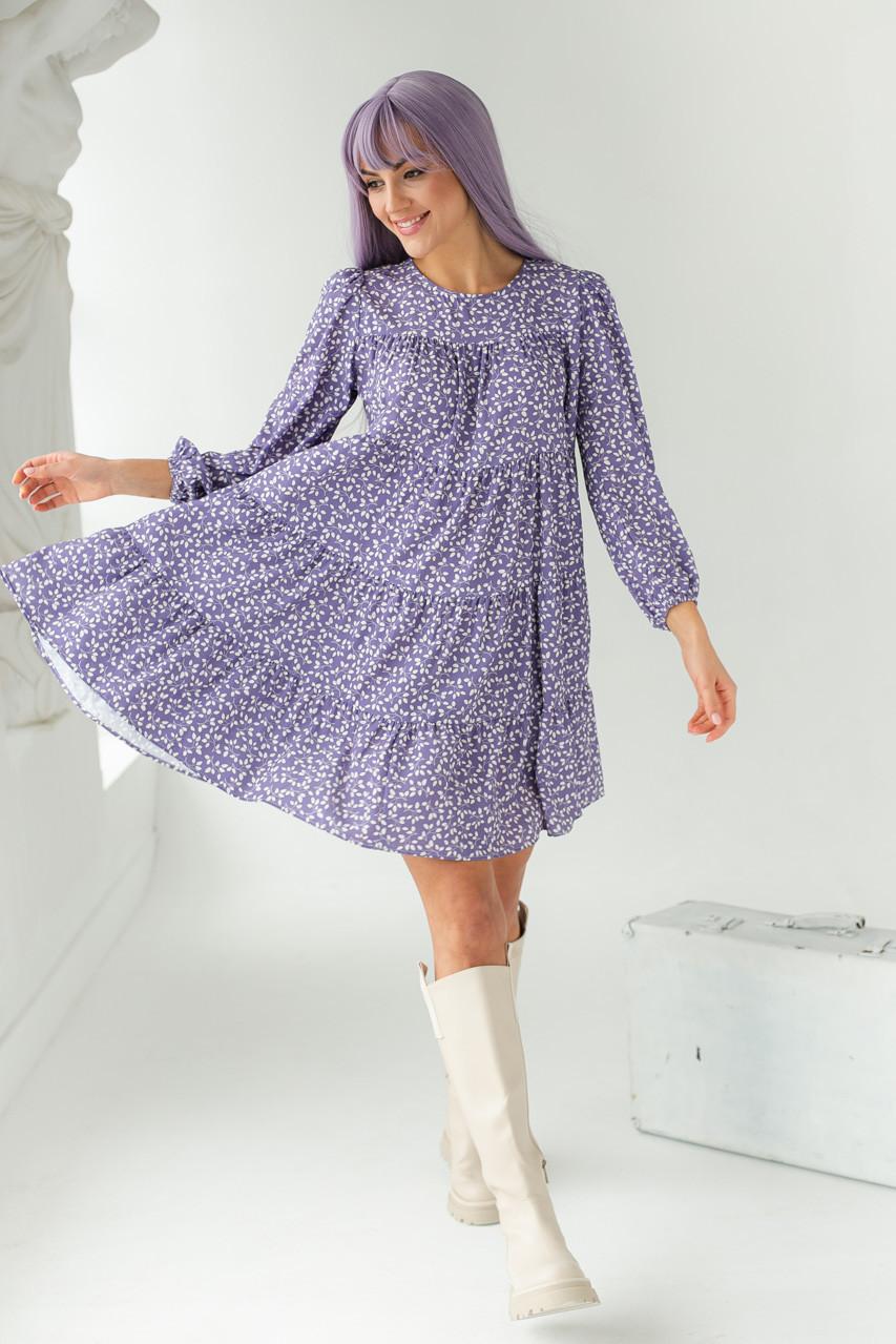 Вільне плаття з рослинним узором GULSELI - лавандовий колір, 38р (є розміри)