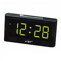 Часы настольные VST 732Y-4 зеленые USB + температура