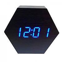 Годинники настільні VST 876-5 сині + температура USB