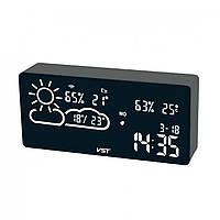 Годинники настільні VST 882-6 білі + температура + вологість USB (WI-FI)