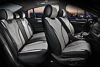 Накидки на сиденья авто 3D ELEGANT TORINO 700 123 серые (алькантара + эко-кожа) ПОЛЬША