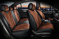 Накидки на сиденья авто 3D ELEGANT TORINO 700 125 коричневые (алькантара + эко-кожа) ПОЛЬША