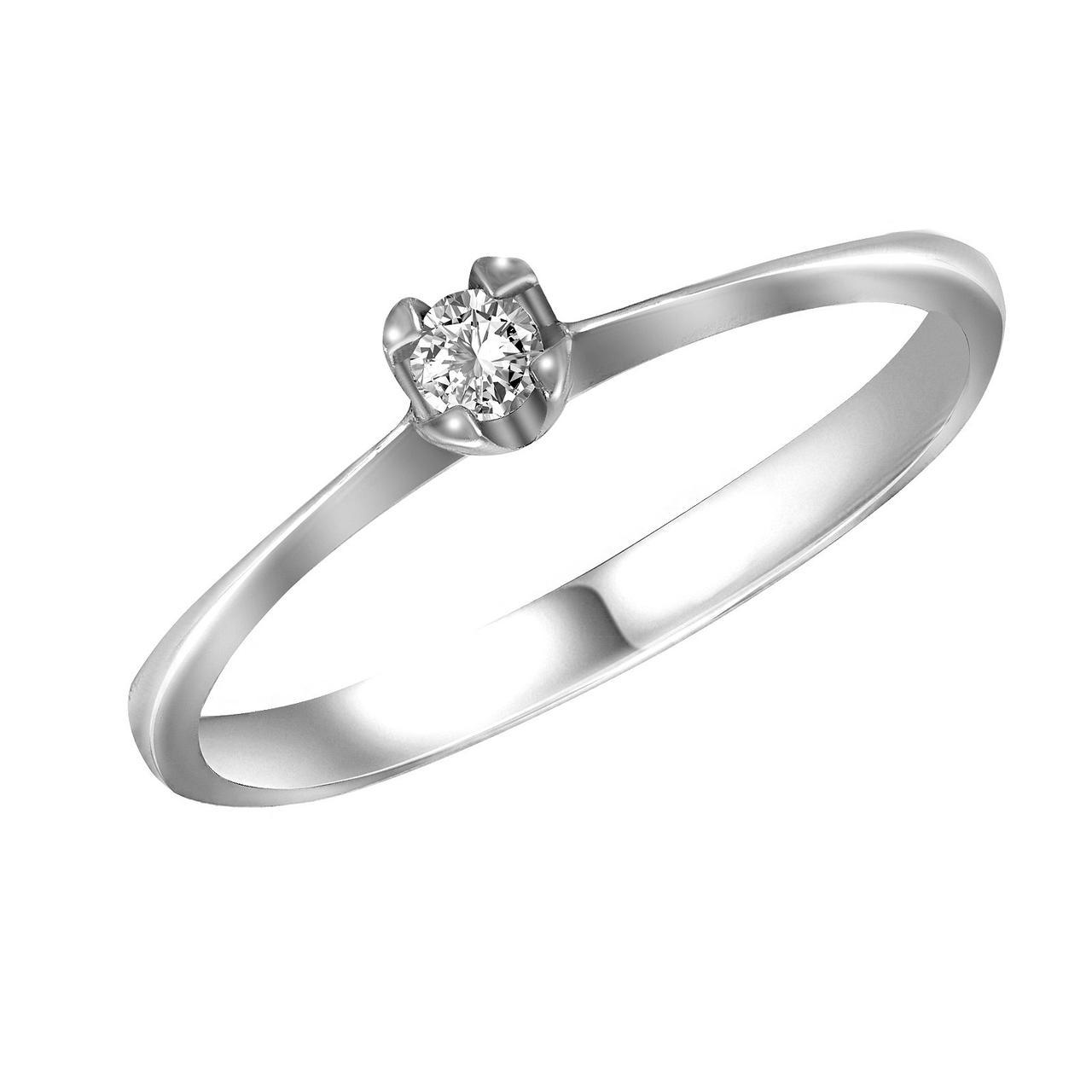 Кольцо из белого золота с бриллиантом, размер 16.5 (1746564)