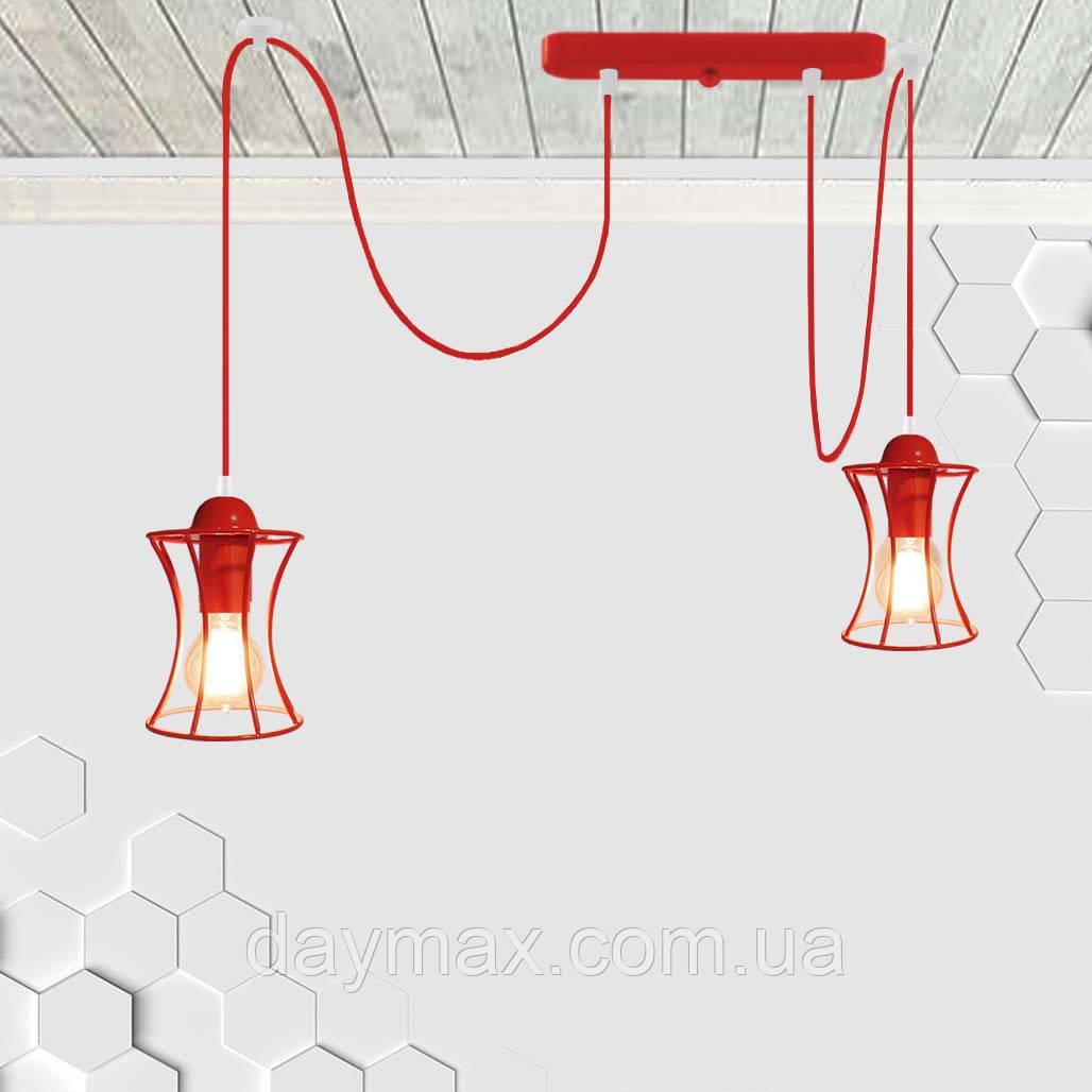 Подвесной светильник на 2-лампы SANDBOX/SP-2R E27 красный