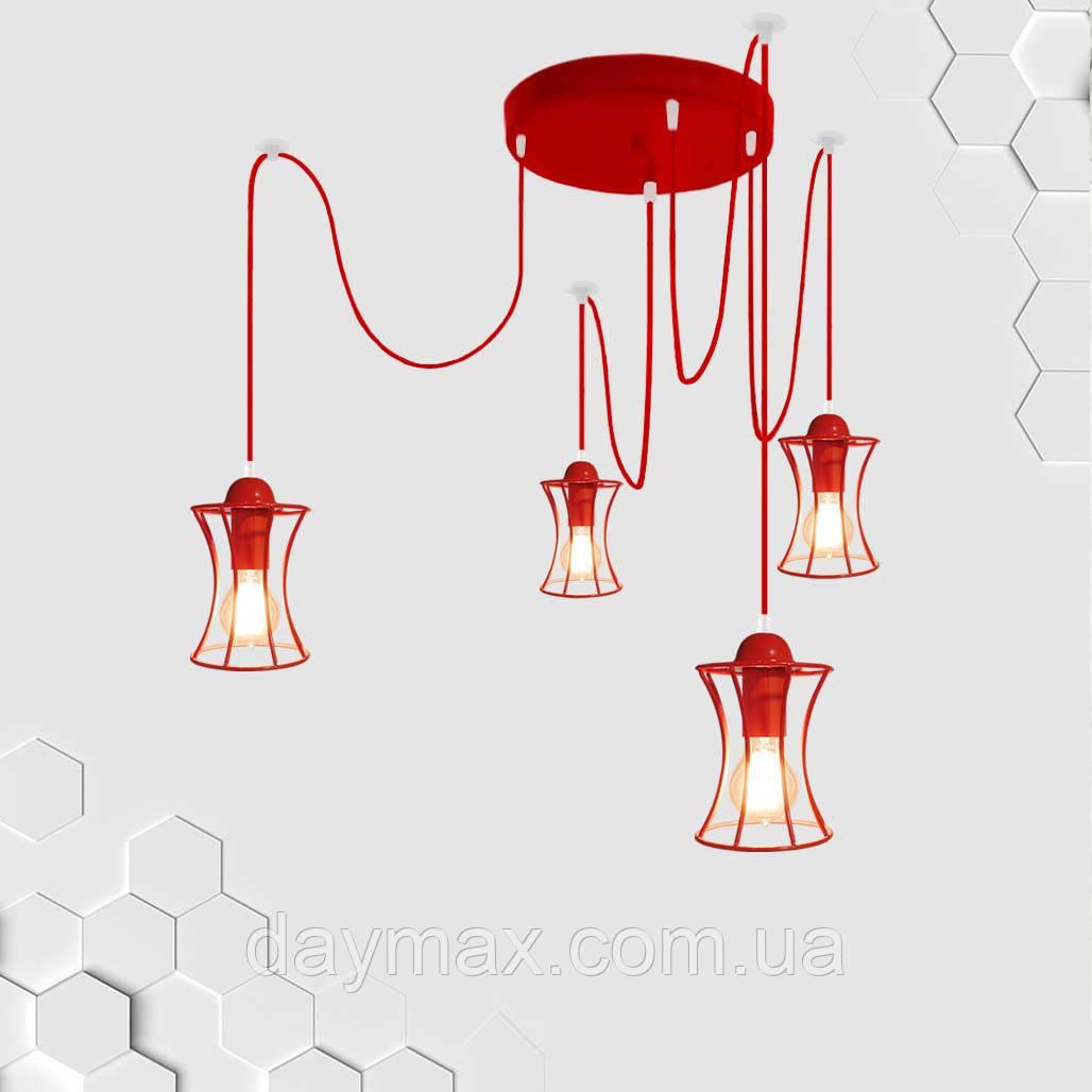 Подвесная люстра на 4-лампы SANDBOX/SP-4R E27 красный