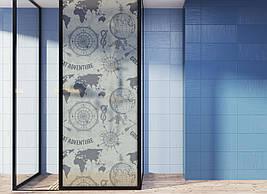 Матова плівка для вікна скло ПВХ Карта світу Компас матуюча наклейка на шафу-купе для дзеркала
