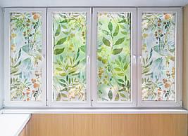 Матова плівка для вікна скло ПВХ Листя Фарби матуюча наклейка на шафу-купе для дзеркала