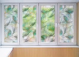 Матирующая плівка для дзеркала на вікно Пір'я Павлина вінілова наклейка на шафу-купе для дзеркала