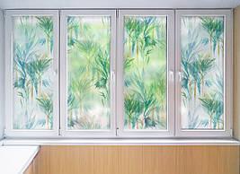 Матирующая виниловая наклейка для шкафа-купе на зеркало Пальмы Листья под пескоструй ПВХ пленка на окно