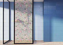 Матирующая вінілова наклейка для шафи-купе на дзеркало Рожеві Троянди квіти пескоструй ПВХ плівка на вікно