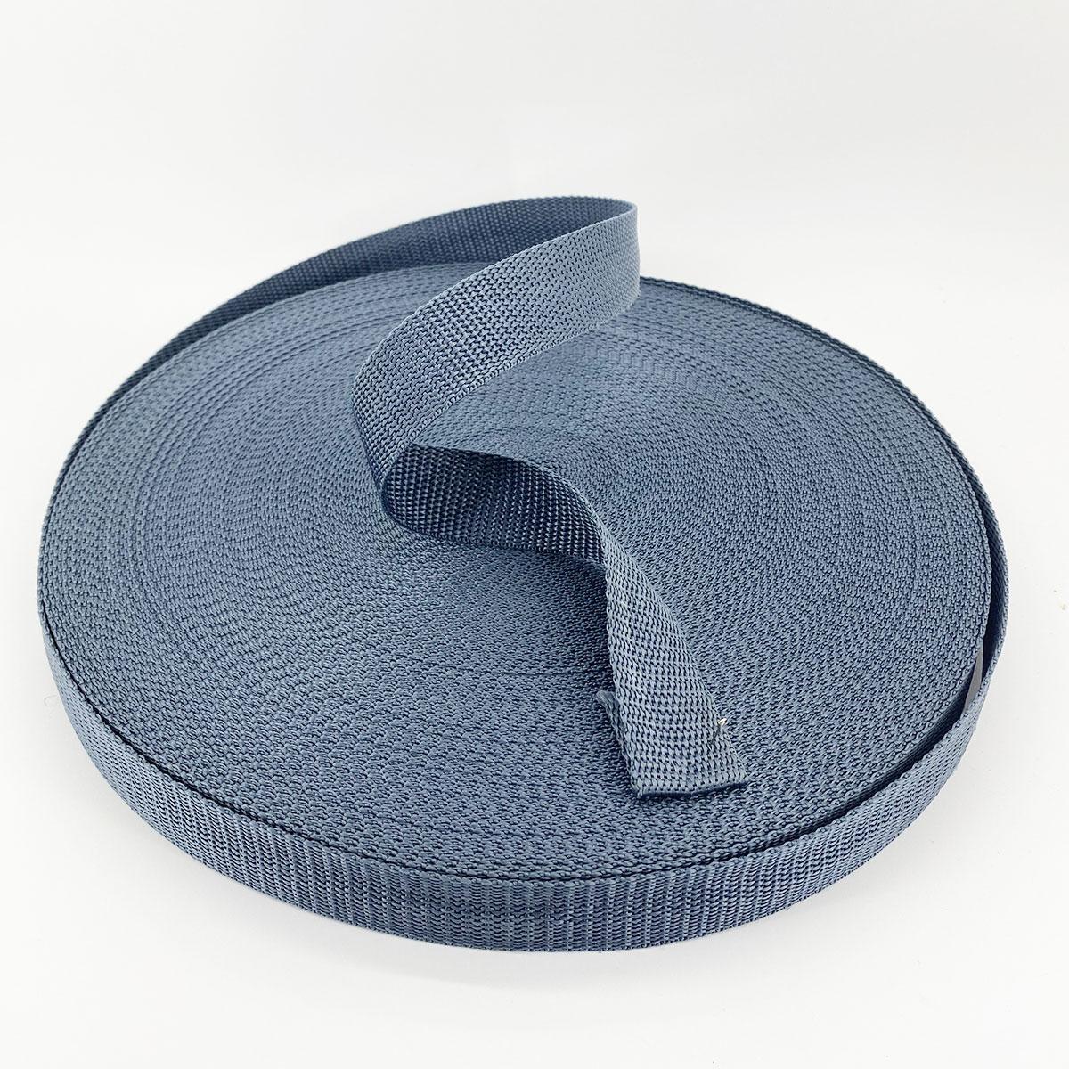 Лента, тесьма для сумок, рюкзаков 25 мм 50 м стропа ременная полипропиленовая (серая)