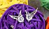 Сережки гвоздики маленькие крылышки циркон покрытие 925 серебро проба, фото 4