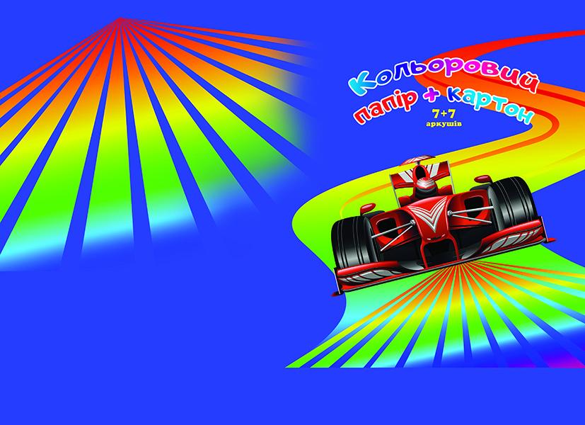 Набір кольоровий картон+папір 7+7 арк, А4, Фолдер