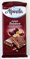 Шоколад Alpinella молочный с орешками и изюмом, 90 г, фото 1