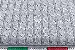 "Ткань бязь с имитацией вязки спицами ""Косичка"", цвет серый, №3187а, фото 3"