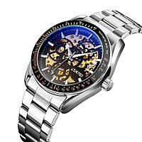 Мужские часы механические скелетоны с автоподзаводом серебристые на браслете Skmei 9194