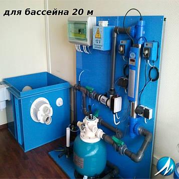 Монтаж оборудования бассейна длиной 20 м