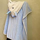 Детское пончо с капюшоном Единорог. На кнопках. Очень мягкое и приятное на ощупь полотенце. Размер 70*70см, фото 8