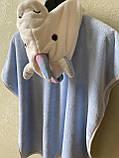 Детское пончо с капюшоном Единорог. На кнопках. Очень мягкое и приятное на ощупь полотенце. Размер 70*70см, фото 6