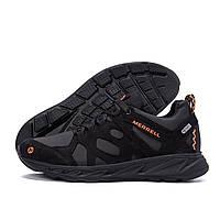 Мужские кожаные кроссовки  MERRELL Black (реплика), фото 1