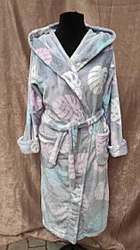 Махровый халат длинный на запах с капюшоном принт листья Большого размера