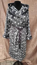 Махровый халат длинный на запах с капюшоном принт Большого размера