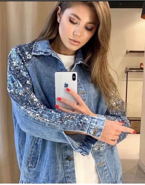 Женская джинсовка с пайетками 3959 (АХ)