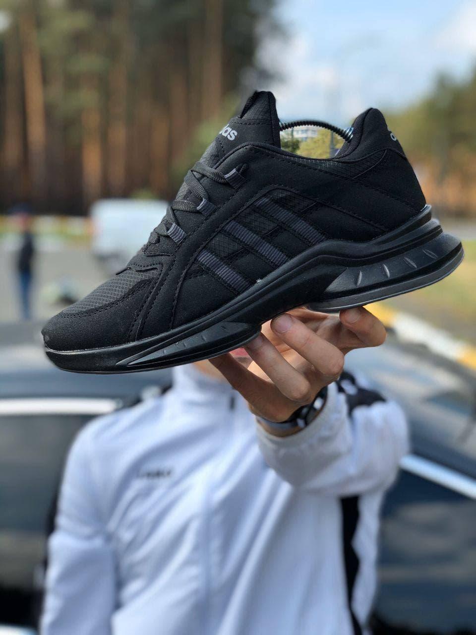 Мужские кроссовки Adid@s  ZX Осень , черные 40-44 замш, текстиль