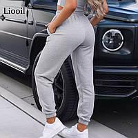 Женские спортивные штаны-джогеры двухнитка цвет Серый