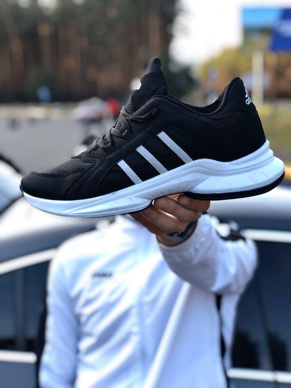 Мужские кроссовки Adidas Nite Jogger Boost (реплика), черные с оранжевым (9369)