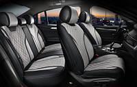 3D чехлы автомобильные накидки на сидения TORINO Maxi Elegant 700123 серая алькантара и экокожа комплект
