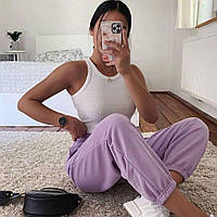 Женские спортивные штаны-джогеры двухнитка цвет Лиловый
