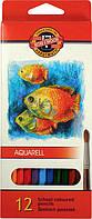 Карандаши акварельные цветные Рыбки 12 цв. (2.8мм) KOH-I-NOOR Mondeluz 3716_р