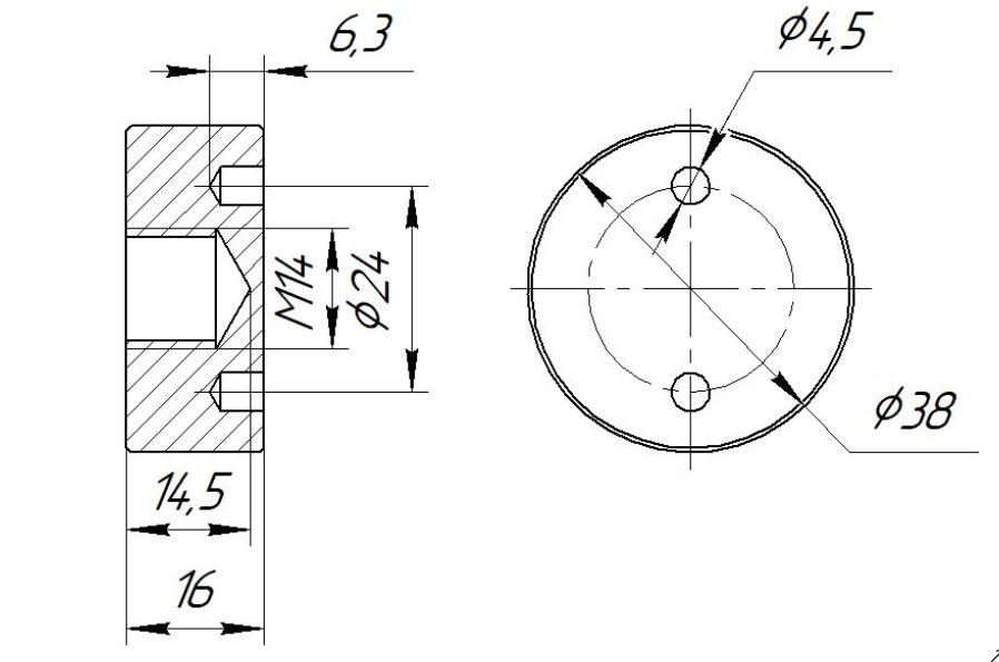 ODF-06-21-21 Коннектор прижимной монтажный для стоек с боковым креплением d38 M14, черный