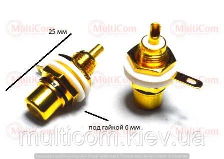 01-02-074BK. Гніздо RCA монтажне, корпус метал, з ізолятором, золотисте, чорна вставка