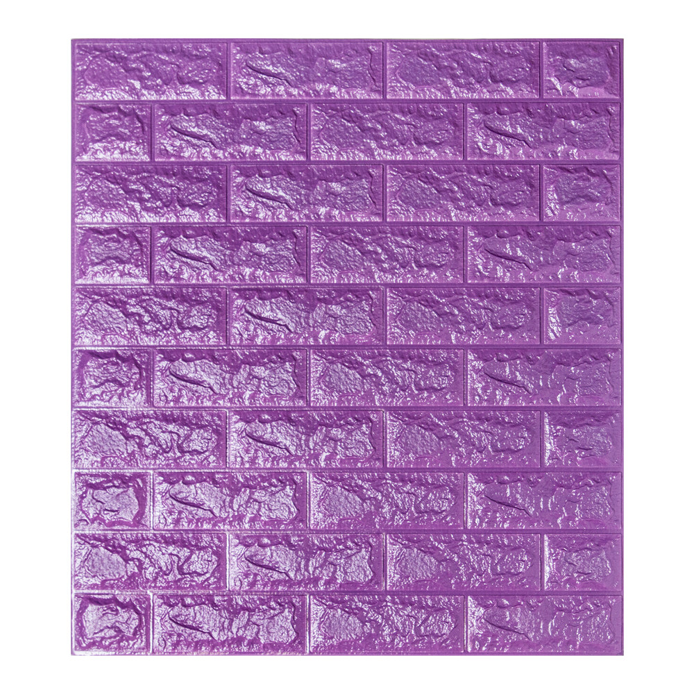 Декоративная 3D панель самоклейка под кирпич Фиолетовый 700x770x7мм