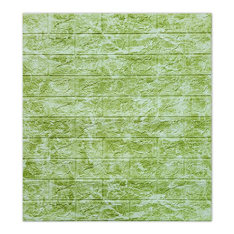 Декоративная 3D панель самоклейка под кирпич DEEP Green 700х770х5мм