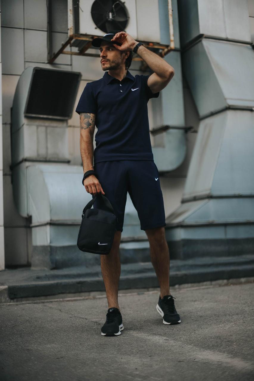 Мужской летний Комплект футболка поло и шорты Nike (реплика)