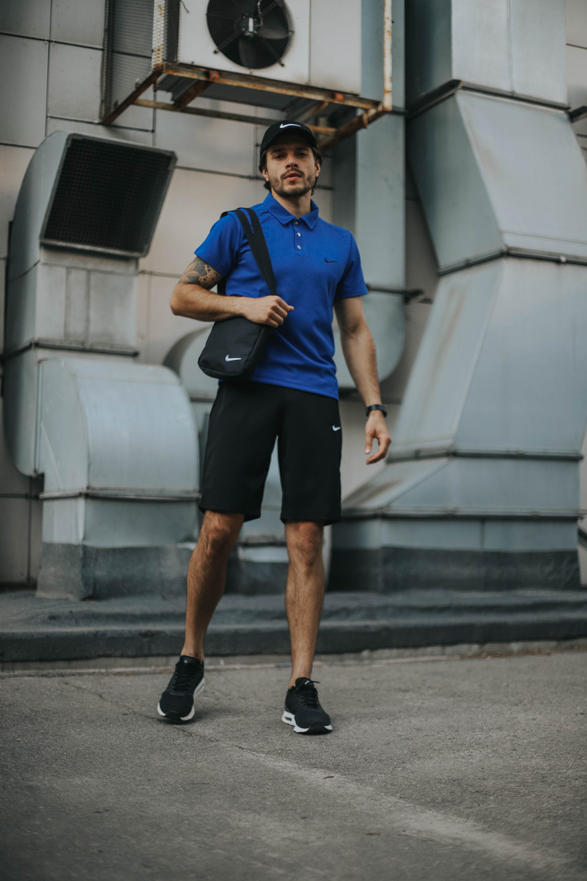 Чоловічий річний Комплект футболка поло і шорти Nike (репліка)