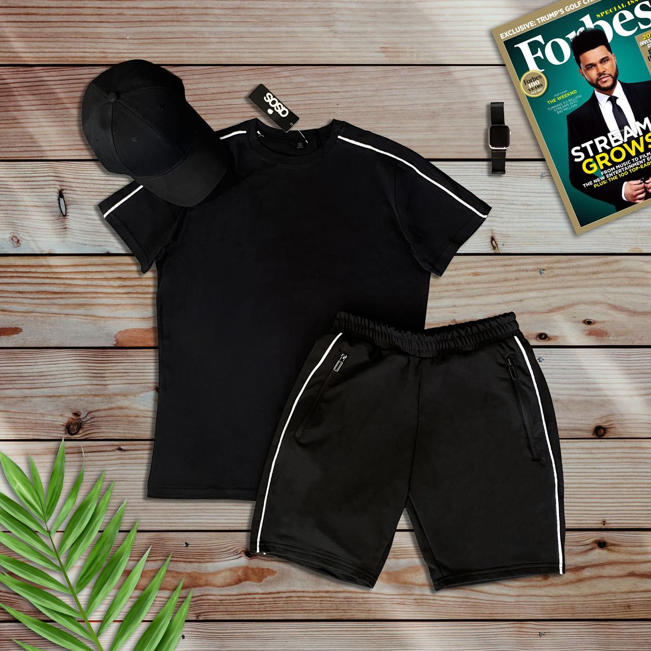 Мужской черный летний комплект, футболка и шорты