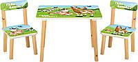 Детский столик 501-85, со стульчиками, ферма