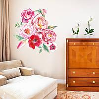 Акварельная наклейка виниловая Цветы интерьерные наклейки красками рисунок ПВХ 1200х1100мм матовая