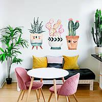Акварельная наклейка виниловая Вазоны интерьерные наклейки красками рисунок ПВХ 540х390мм матовая