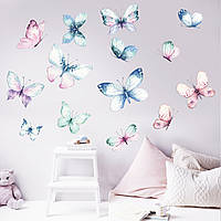 Акварельная наклейка виниловая Бабочки интерьерные наклейки красками рисунок ПВХ 1000х1200мм матовая