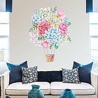 Акварельная наклейка виниловая Цветочный воздушный шар красками рисунок ПВХ 540х700мм матовая