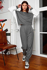 Жіночий теплий прогулянковий костюм з кюлотами і асиметричною кофтою (Лессі jd)