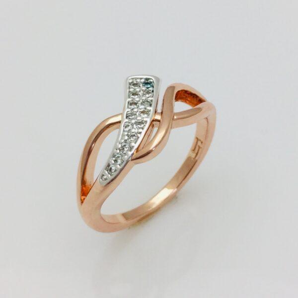 Кольцо женское с камнями Ириска , размер 16, 17, 18, 19, 20, 21, 22 позолота+ родий Ювелирная бижутерия Fallon