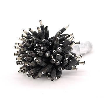 Роз'єм живлення DC-M (D 5,5x2,5мм) => кабель довжиною 30см black, Black plug  OEM Q100